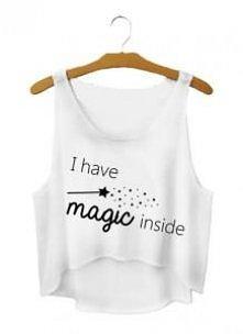 Crop top czyli krótka koszulka przed pępek odkryty brzuch z napisem nadrukiem I HAVE MAGIC INSIDE POTTERHEADS dream harry magic- modna koszulka flowy tank do pępka Super koszulk...