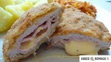 ok 400 g schabu  4 plastry szynki gotowanej  2 grubsze plastry sera (użyłam goudy- w oryginale jest ser fontina)  pieprz  jajko i bułka tarta do panierowania    Schab pokroić w ...