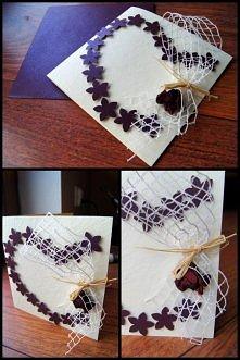 Kartka okolicznościowa, ślubna - serce, z fioletem