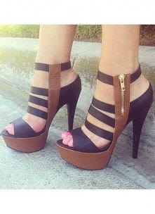 Braun and black sandals