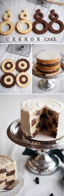 jak zrobic ciasto ktore po przekrojeniu daje efekt szachownicy :D
