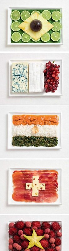 flagi państw zrobione z jedzenia ;)