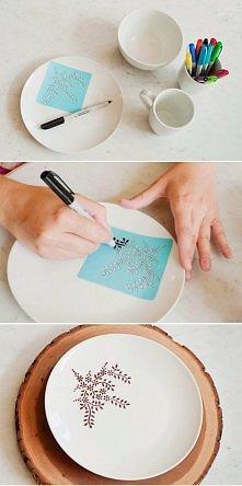 Jak tanio ozdobić talerze? Voila! Tylko pamiętajcie! Marker nietoksyczny!