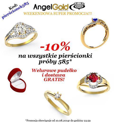 -10%, welurowe pudełko oraz dostawa kurierem gratis na wszystkie pierścionki ze złota próby 585!!