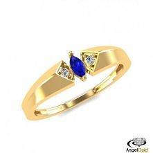 Pierścionek zaręczynowy ze złota próby 585 zdobiony szafirem syntetycznym. Kl...
