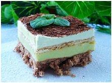 Miętusek – czekoladowe ciasto z miętowo – budyniowym kremem z landrynkami