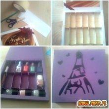 To pudełeczko na lakiery wykonałam z pudełeczka po czekoladkach :)