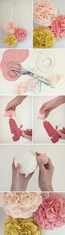 DIY kula z materialu pompon