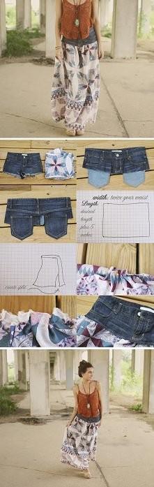 Długa spódnica z krótkich spodenek :-)