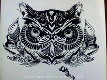 Sama sowa wzorowana ale dosyć zmodyfikowana, pióra to mój własny pomysł :) Cienkopis i czarny długopis