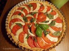 Tarta Caprese   Składniki  5-6 pomidorów 2 kulki mozzarelli bazylia (może byc suszona) sól świeżo zmielony pieprz ciasto  1,5 szklanki mąki 100g masła lub margaryny (zimnego) 1 ...