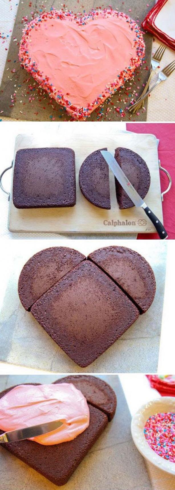 Как сделать торт сердце из круглых коржей