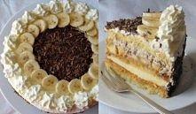 Tort bananowy NA BISZKOPT: 4 jajka 2/3 szklanki cukru 1 niecała łyżka octu 1 ...