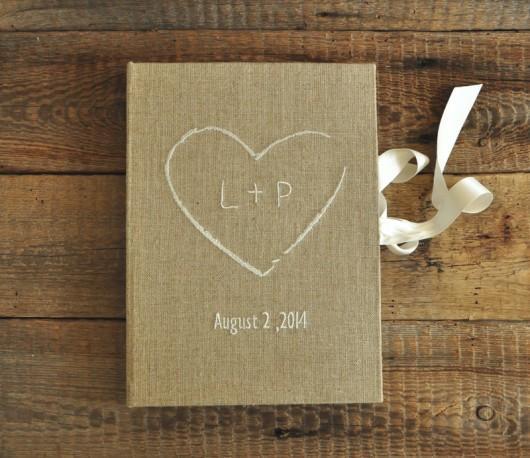 A4 lniana księga z sercem