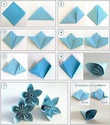 Najprostsza wersja kwiatów kusudama. Gdy wykonamy 12 kwiatów  można je ze sobą skleić tak aby stworzyły kulę.