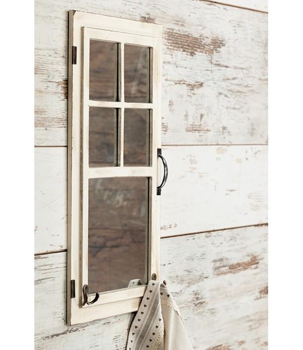 Lustro w formie okna z wieszakiem na ścianę