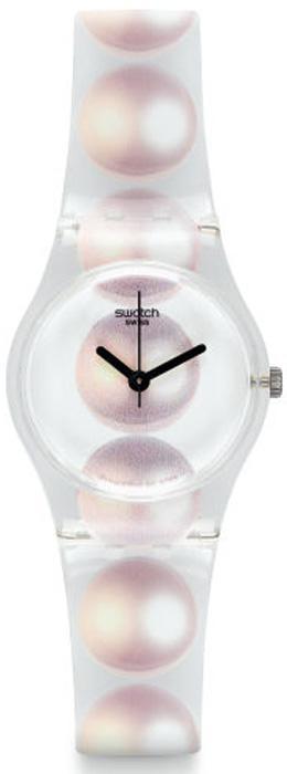 Zegarek Swatch z ozdobnymi perłami.