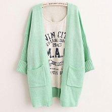 Candy Color Pockets Loose Fit Knit Cardigan Jacket Coat