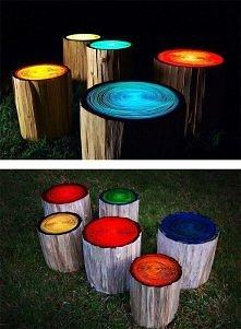 Świecące stołeczki pomalowa...