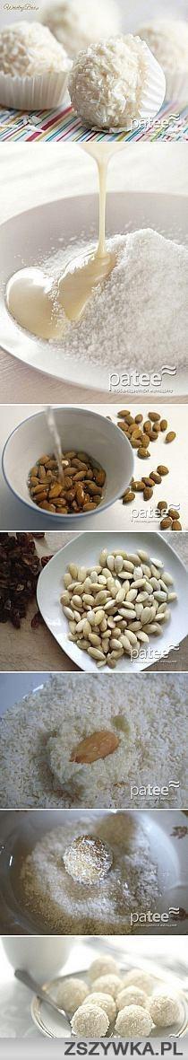 kuleczki rafaelloPrzepis na domowe KULECZKI RAFAELLO! 100g miękkiego masła 1/2 szklanki cukru pudru 1 jajko 100g wiórków kokosowych 100g herbatników 30-40g migdałów lub orzechów laskowych 1. Miękkie masło ucierać przez około 2 minuty mikserem ustawionym na najwyższe obroty. Następnie stopniowo dodawać cukier puder i ucierać jeszcze przez około 2-3 minuty, aż masa będzie kremowa. 2. Zmniejszyć obroty miksera na średnie i dodać jajko, dokładnie wymieszać, aż składniki się dobrze połączą. 3. Odłożyć około 3 łyżki wiórków kokosowych, a resztę dodać do masy, wymieszać. Powstałą masę wstawić do lodówki na 1 godzinę. 4. Herbatniki bardzo drobno pokruszyć. Masę kokosową wyjąć z lodówki i dodać herbatniki, wymieszać. 5. Z ciasta formować kuleczki wielkości orzecha włoskiego (ja nawet robiłam trochę mniejsze). W środek każdej kuleczki włożyć migdał lub orzech laskowy. Następnie kuleczki obtoczyć w odłożonych wiórkach kokosowych. Gotowe kuleczki wstawić do lodówki na parę godzin.