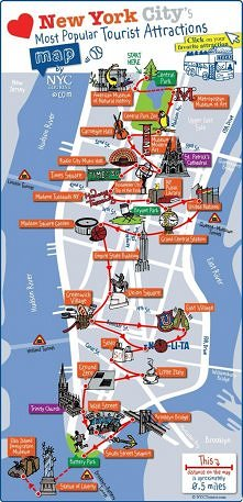 Mapa atrakcji w Nowym Yorku