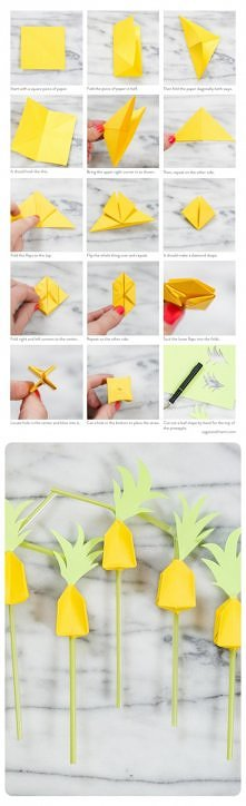 Origami Pineapple Straws