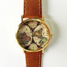 Zegarek w stylu vintage z mapą