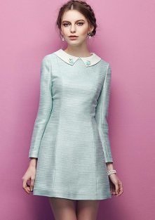 Miętowa rozkloszowana sukienka