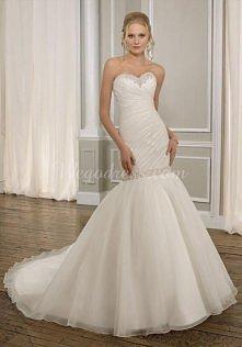 organza mermaid sweetheart sleeveless with beads and pleats wedding dress - wegdress.com