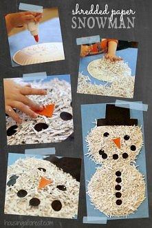 bałwanek z papierowych talerzyków i ścinków :)
