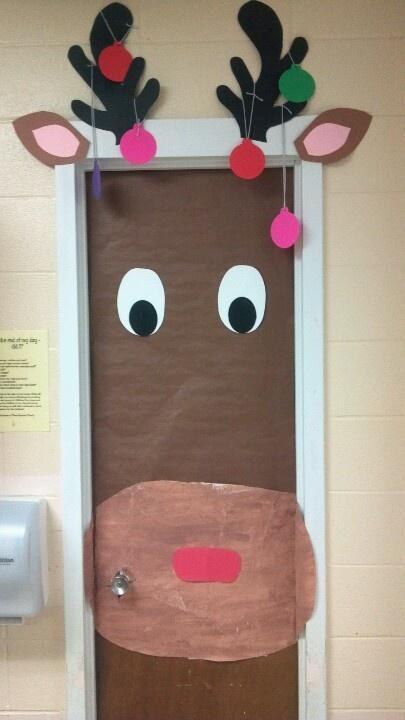 Renifer na dekoracja drzwi for Decorar las puertas en navidad