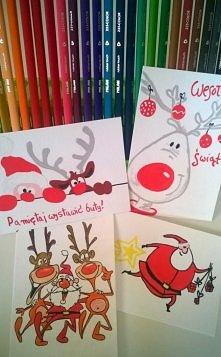 Świąteczne kartki, ręcznie malowane.