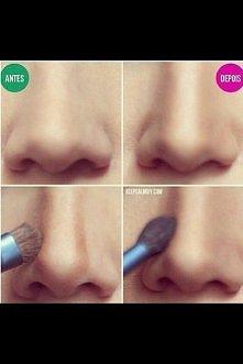 Jak zmniejszyć nos, za pomocą makijażu --->>>