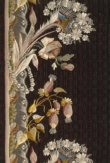 Sample for a Camisole Embroidery with Flower and Peacock Feather Motifs France 1780