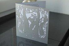 Zaproszenie wycinane laserowo, model Ptaki w  kolorze srebrnym, kolorystyka oczywiście do ustalenia. Zapraszam na annart-atelier.pl