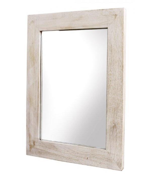 Lustro w bielonej drewnianej ramie