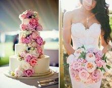tort i bukiet w jednym stylu
