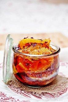 Pomarańcze i grejpfruty w syropie herbacianym