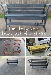 ławka z krzeseł z myrepurpo...
