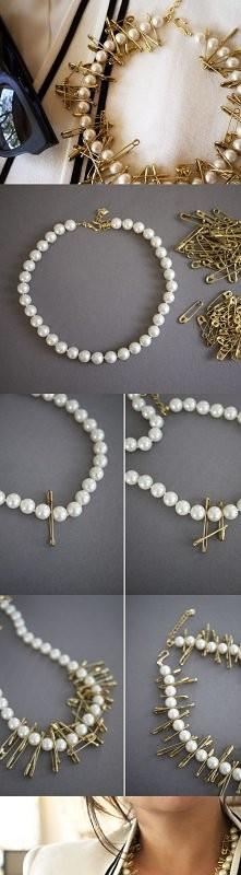 agrafki z perłami
