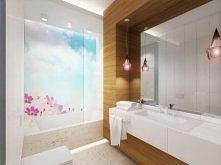 Aranżacja wnętrza łazienki z fototapetą za szkłem  - Tissu. We wnętrzu dominu...