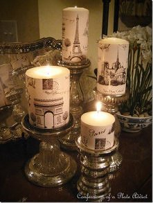 Świeczki inspirowane Paryżem. Są tak ładne, że szkoda by mi było je zapalać :P