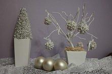Dekoracje świąteczne (bukiew, gips, drut owinięty sznurkiem, sztuczne perły, ...