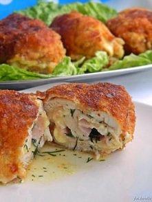 Devolay z szynką i serem  składniki na 4 porcje: 4 filety z piersi kurczaka 4...