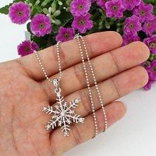Christmas Snowflake Flower Pendant Necklace Clear Swarovski Crystal Wedding