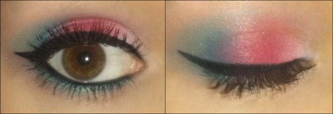 PRZEPRASZAM ZA JAKOŚĆ ZDJĘCIA I ZA KRESKĘ, która nie chciała ładnie wyjść na zdjęciu ;( Różowo-turkusowo ;D Oko: moje