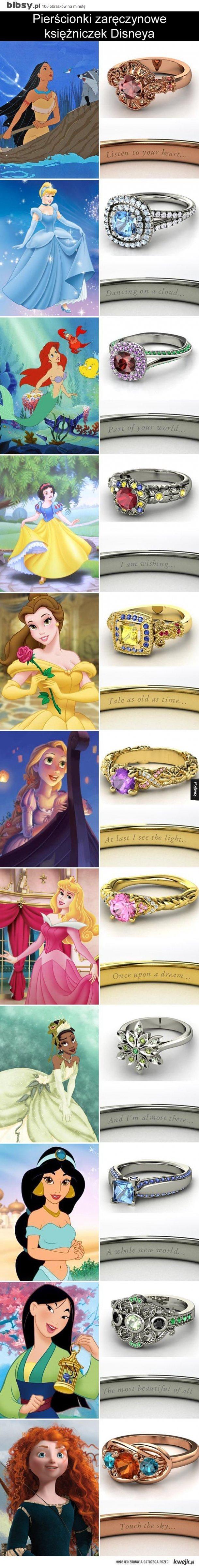 pierścionki zaręczynowe księżniczek Disneya