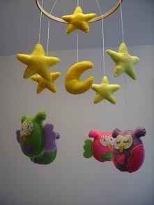 Karuzela (mobil)z sowami do pokoju dziecięcego-ręcznie robiona. Po więcej kli...