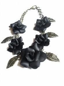 Bransoletka czarne róże, ręcznie robiona :)
