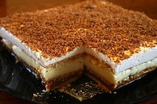 Szybkie i proste ciasto bez pieczenia czyli 3 BIT  Składniki: ok. 4 paczek herbatników (część można wymienić na krakersy) 1 puszka masy kajmakowej (400 g) 750 ml mleka 150 g masła 1/2 szklanki cukru 2 opakowania budyniu śmietankowego/waniliowego 400 ml śmietany 36% + 1 łyżka cukru pudru 1 łyżka żelatyny 1 czekolada do starcia  Najpierw należy zrobić budyń z pomniejszonej ilości mleka (750 ml zamiast litra). Ostudzić. Ubić masło na puch z cukrem i powoli dodawać po łyżce budyniu, miksować aż uzyskamy jednolitą masę.  Na dnie formy ułożyć ciasno herbatniki. Masę kajmakową włożyć do garnuszka i lekko podgrzać, rozprowadzić na herbatnikach. Na kajmaku ułożyć kolejną warstwę herbatników lub krakersów. Na to wyłożyć masę budyniowa, następnie przykryć ostatnią warstwą herbatników. Na herbatniki wyłożyć warstwę ubitej śmietany z 1 łyżką cukru pudru (można dodać trochę fixu lub jak ja łyżkę żelatyny rozpuszczonej w 1/4 szklanki gorącej wody). Na śmietanę zetrzeć czekoladę. Wstawić na kilka godzin do lodówki.